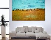 "Original abstract painting acrylic landscape painting modern art Handmade by Carola, 24"" x 36"" FREE SHIPPING"