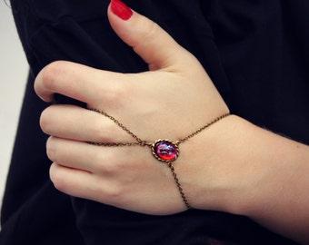 mexican opal slave bracelet, opal hand chain, ring bracelet, slave ring, unique bracelet, dragons breath