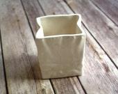 "Modern / Contemporary Ceramics - Ceramic Vase ""Paper Bag"" in Soft White - Bud Vase made from Vintage Slipcasting Mold, Clear Glaze"