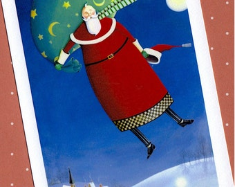 floating santa night sky mini digital print