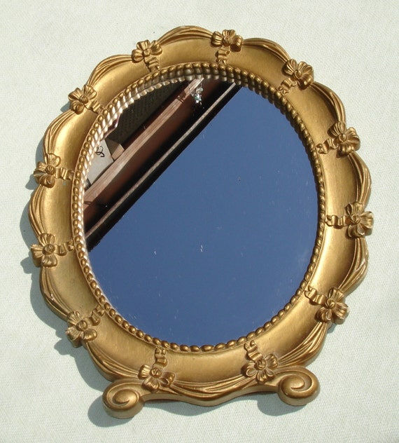 1943 vintage syroco gold stand up vanity mirror with ribbon for Gold stand up mirror