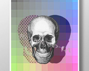 Vintage Skull,Unique art, Geometric Art, Retro poster, Colorful, t A4 - ART Print 8 x 10""