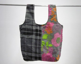 handmade carry-all lunch bag or purse - eco friendly, washable, durable - gray plaid & flowers
