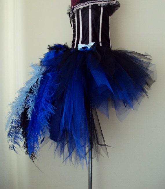 royal blue peacock burlesque tutu skirt all sizes available