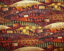 Autumn Scenic Fall Harvest Pumpkins Country Farm Rustic Mary Beth Barter for Springs Creative Cotton Fabric FQ
