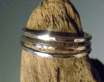 Sterling Silver Stacking Rings - Set of 3 - Gently Hammered