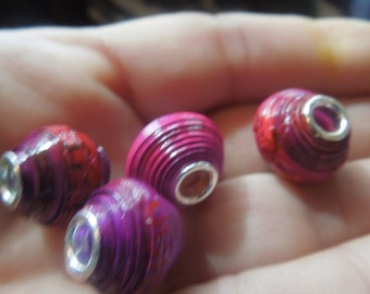 Fuschia Large Hole European Style  Paper Beads with Bead Cores