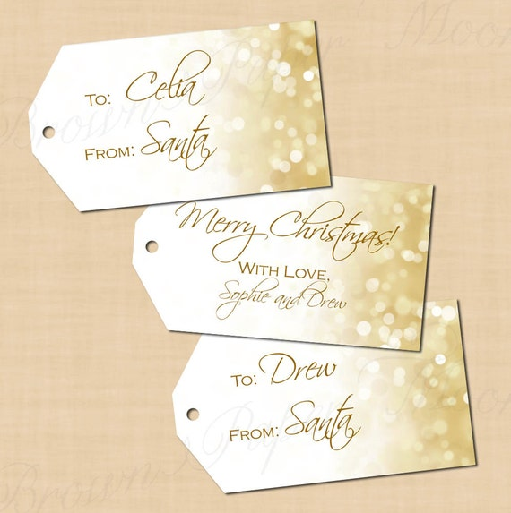 items similar to holiday white gold sparkles gift tags