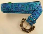Vintage Belt / Teal, Blue and Purple Belt / Medium 80s Belt
