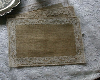 Burlap and lace table mats