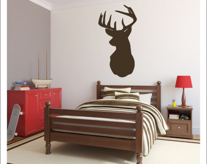 Deer Head Vinyl Decal Vinyl Wall Decal Buck Deer Hunting Bedroom  Nursery Vinyl Wall Decal Modern Everything Else