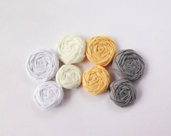 Gray, Yellow, White and Ivory Fabric Rosettes Embellishment
