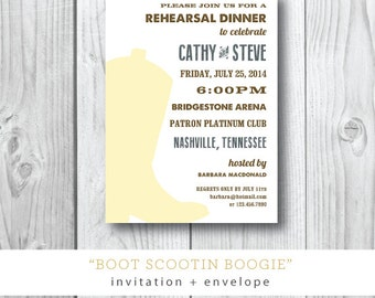 Boot Scootin Boogie Printed Rehearsal Dinner Invitation | Cowboy Boot Country Rehearsal Dinner Party Invitation | Darby Cards