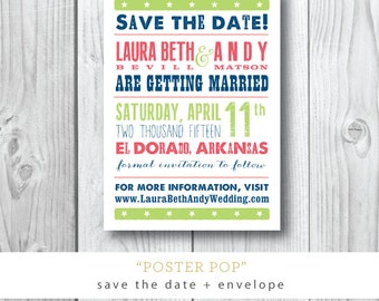 Poster Pop Printed Save the Dates   Southern Print Save the Date Card   Printed or Printable by Darby Cards