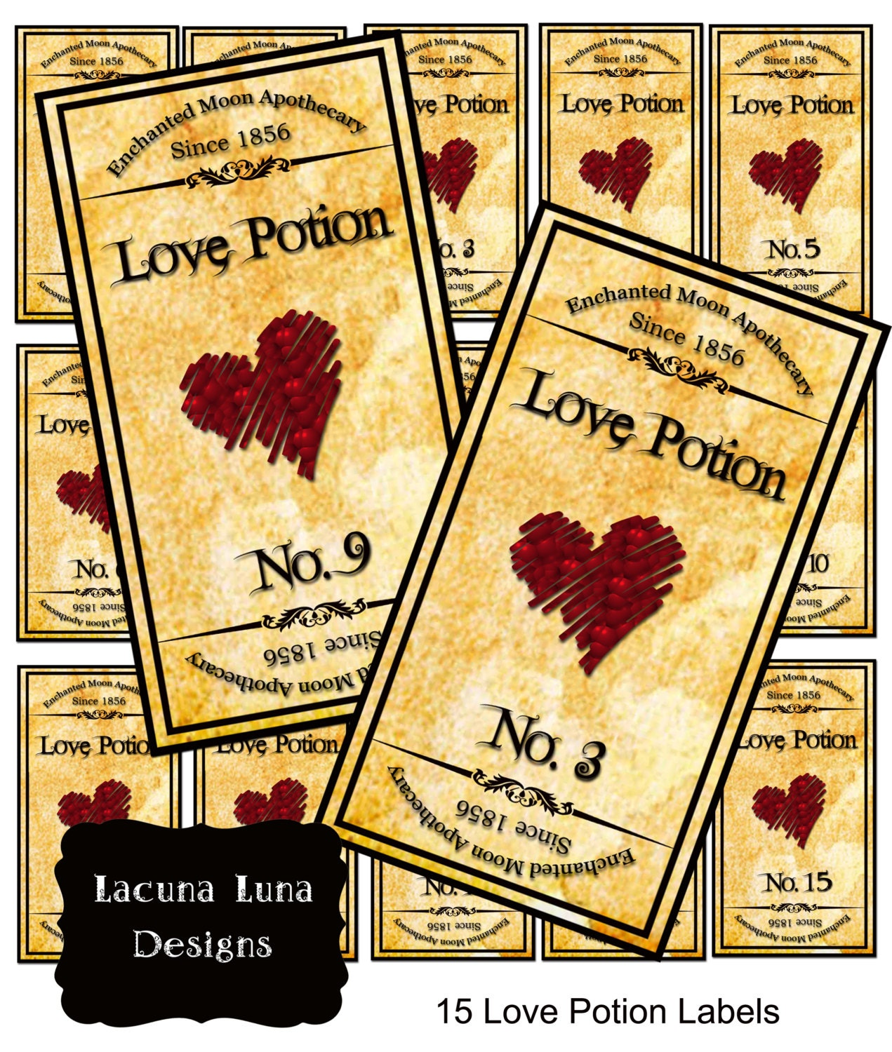Love Potion Drink Labels: 15 Love Potion Apothecary Bottle Jar Labels By