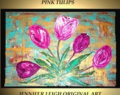 Reserved for Kiley Original Large Abstract Painting Modern Canvas Art Turquoise Rust PINK TULIPS Flowers 36x24 Palette Knife Oil J.LEIGH