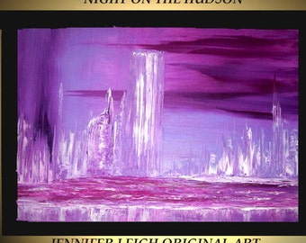 Original Large Abstract Painting Modern Contemporary Canvas Art Purple White Night on the Hudson 36x24 Palette Knife Texture Oil J.LEIGH