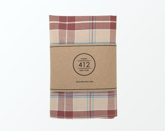 Pocket Square, Brown Multi Tartan Plaid Pocket Square for Wedding and Gift / Ready to ship