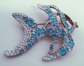 tiffany blue fish brooch / aqua vintage / antique luxe crystal