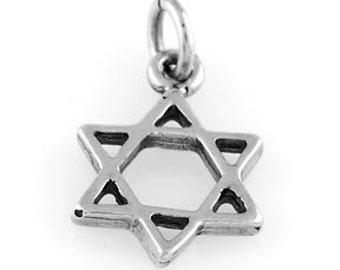 Sterling Silver Jewish Star of David Charm (3d Charm)