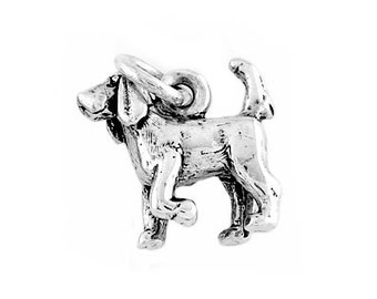 Sterling Silver Bloodhound Dog Charm (3d Charm)