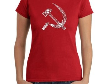 Women's T-shirt - Created using pictures and words that define the old Soviet era Soviet Hammer and Sickle