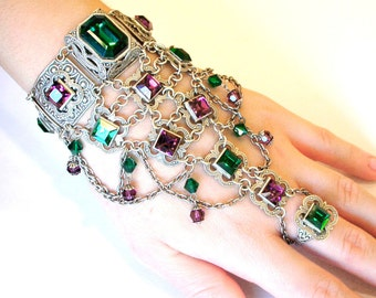 Special Listing for Marilyn - Oriental Slave Bracelet - Swarovski Silver Belly Dance Bracelet - Great Gatsby Jewelry