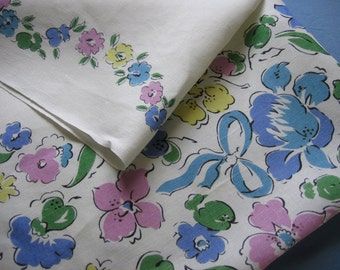 Vintage Breakfast Tablecloth in a Spring Floral Print Cotton or Cotton Linen Blend Pretty for a Tea Party Table