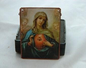 Mary necklace Mary Jewelry Sacred Heart of Mary religious art