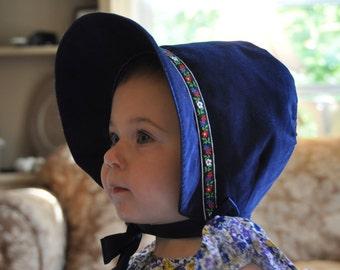 Blue Corduroy Bonnet, Dress Hat for Little Girls, Blue Pinwale Corduroy, Size 18-24 Months