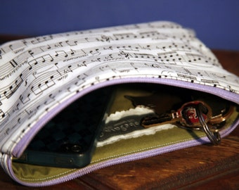 100% Cotton Zip Pouch/Cosmetic Bag - Music Notes