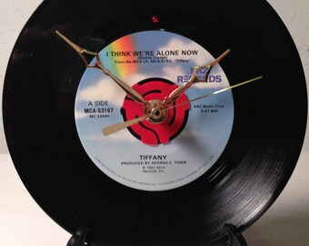 "Recycled TIFFANY 7"" Record / I Think We're Alone Now / Record Clock"