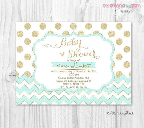 baby shower invitation mint chevron and gold polka dot by ceremonia