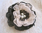 Flower Hair Clip Champagne and Black Chiffon With Faux Pearl Accent Bridesmaids, Mother of the Bride Prom