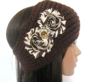 Brown Knit Ear Warmer Head Wrap Headband with Brown and Ivory Flowers and a Matching Amber Accent