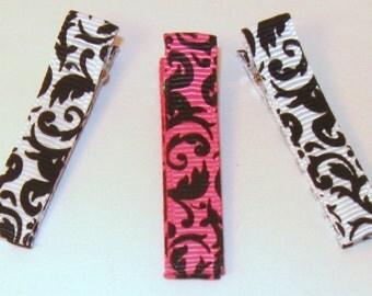 Set of 3 hairclips...hot pink/black and white/black damask