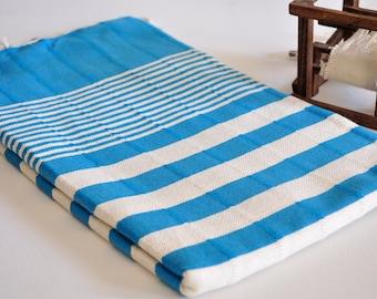 Turkish Towel Hand Loomed Peshtemal Towel Beach Towel Blue White Striped Multi purpose