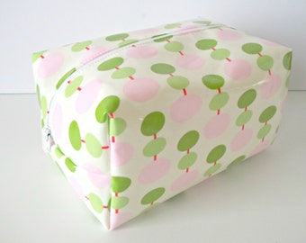 Pink and Green Waterproof Makeup Bag - Cosmetic Bag - Laminated Fabric