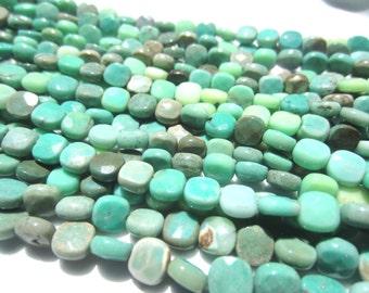 "Moss Green Opal--6 mm Cushions--16"" Strand"