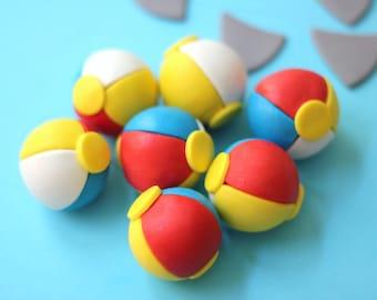 Fondant Beach Ball - Fondant Beachball Toppers - Pool Party/Beach-Themed Cupcake Topper - Beach Ball Fondant Toppers