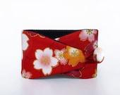 Obi bracelet Fleur de cerisier- japanese fabric 100%cotton - pink, red and orange bracelet with flowers