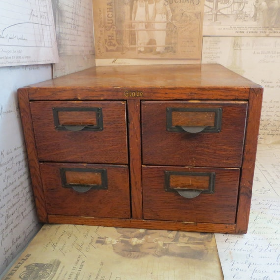 Vintage 4 Drawer Library Card Catalog Wooden By Ozdoingitagain