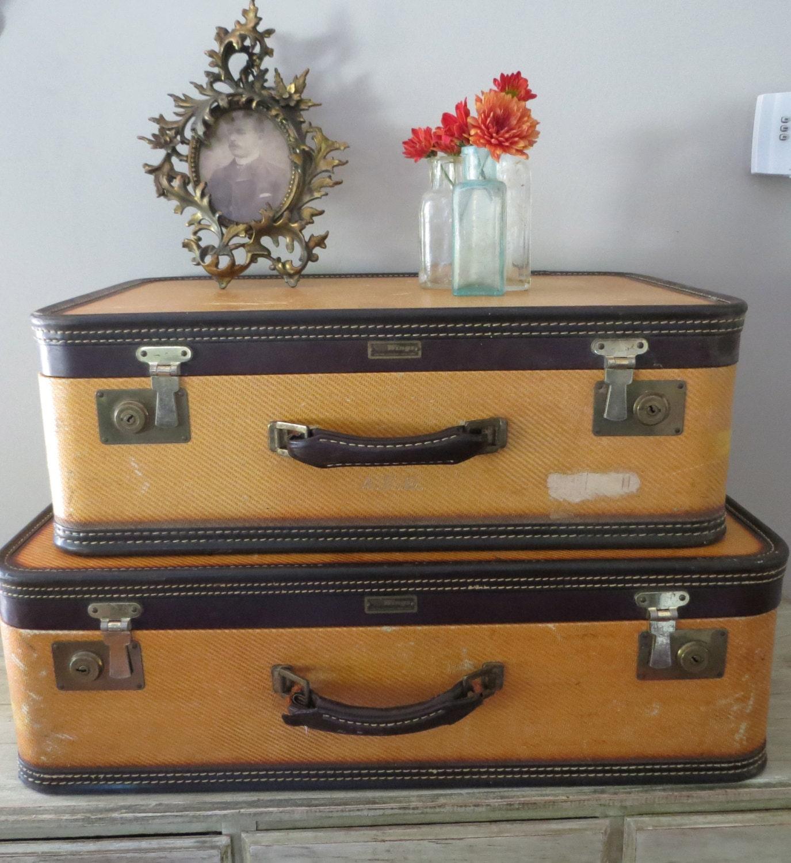 Vintage luggage set suitcase yellow suitcase by ozdoingitagain for The vintage suitcase