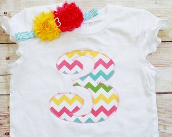 """Pastel CHEVRON """"1"""" """"2"""" """"3"""" """"4"""" or """"5""""  outfit for GIRLS Birthdays.  Age Shirt, Number Shirt, with Matching Headband.  Multi Colored Chevron"""