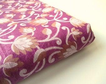 Purple flowers white gold branches Varanasi cotton silk fabric nr 388