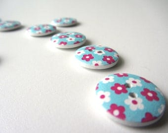 Sweet pink flowers button 20 mm set of ten buttons nr. 40