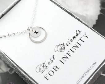 Eternity necklace on Friendship card, personalized best friend gifts, stamped letter, bff necklace, friendship necklace