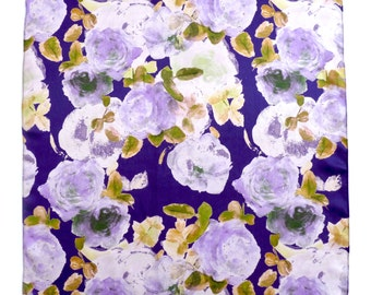 Hand Painted Purple and Lilac Floral Print Square Silk Scarf, Rose Print. Ladies Scarf. Luxury Gift. Summer. Silk Square. Occasion wear.