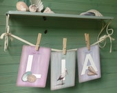 """Set of ANY 3 LETTERS from the Beachcomber (Beach Theme) Collection Illustrated Alphabet 5"""" X 7"""" ~ Name or Word Garland Banner Frame-able"""