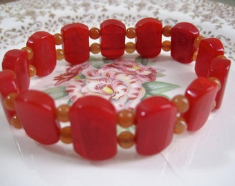 Vintage Agate Bracelet Red Orange Carnelian Stone Stretchy Beaded 1970s Petite Asia